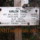 AMC Avalon Trail Sign - Shows Mt. Willard Trail, Cascade Loop, A-Z Trail, Mt. Avalon, and Willey Range Trail.