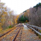 Scenic Railroad Tracks Near Ripley Falls in Hart's Location NH